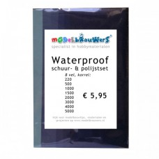 Waterproof schuur- en polijstset (8 vel)